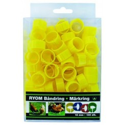 Båndringe plast gul 16mm 100 stk