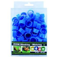 Båndringe plast blå 16mm 100 stk