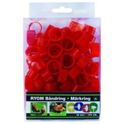 Båndringe plast rød 16mm 100 stk