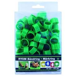 Båndringe plast grøn 16mm 100 stk